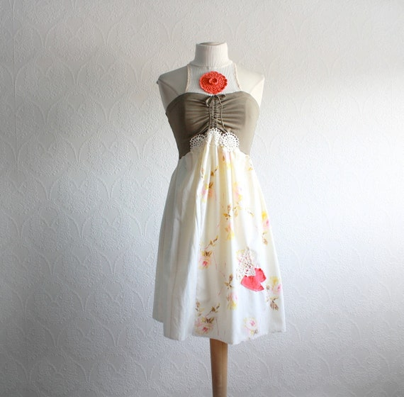 """Olive Green Shabby Chic Dress Women's Clothing Upcycled Clothes Cream Floral Print Coral Lace Eco Fashion Medium 'ZOE"""""""