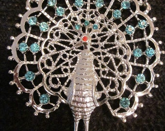 Proud As A Peacock - Vintage Silver Tone Peacock Necklace with Aqua Rhinestones
