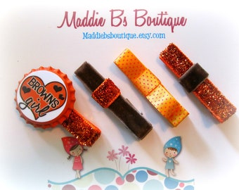 NEW-Sparkle Clips Orange & Brown NFL clip Cleveland Browns bottle cap hair  bow-made by Maddie B's Boutique on Etsy