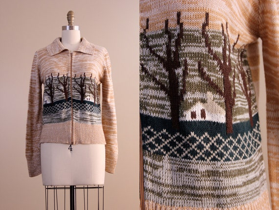 1970s vintage sweater / forest woods zip up space dyed cardigan/ size S M