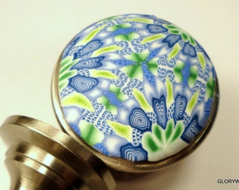 Cabinet Knobs cabinet pulls  8 Unique Brushed Nickel  dresser knobs bathroom knobs handmade decorative knobs     Blue Lime and White