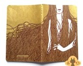 Hand painted Moleskine Cahier journal, plain pocket size - golden and brown cover - The Hair and Roses collection