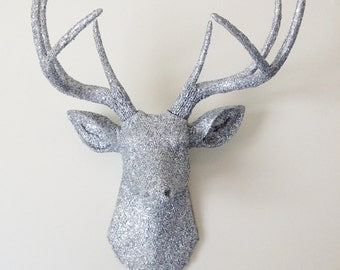 Silver Glitter Deer Head Wall Mount