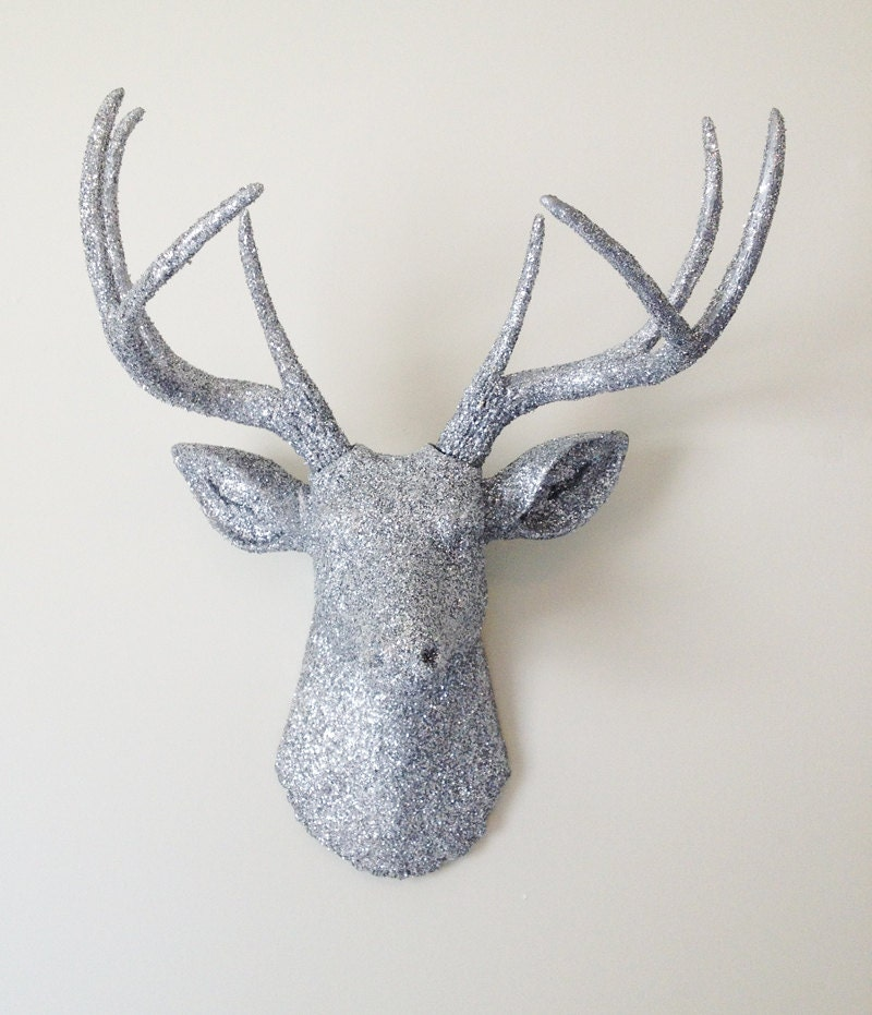 Silver glitter deer head wall mount by bananatreestudios on etsy - Silver stag head wall mount ...