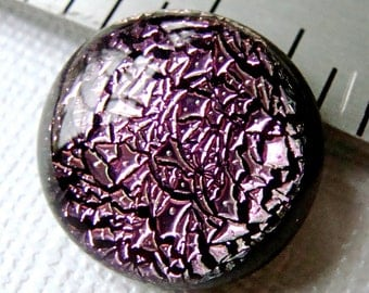 Fused Dichroic Glass Cabochon 16 mm Lavender Pink Sparkle