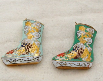 Set Of Two Chinese Made Cloisonne Boots
