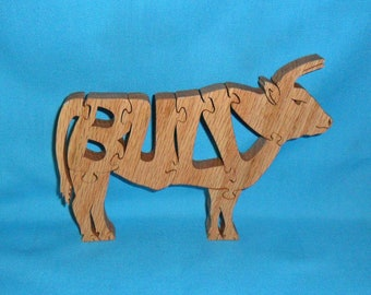 Bull Handmade Wooden Scroll Saw Puzzle