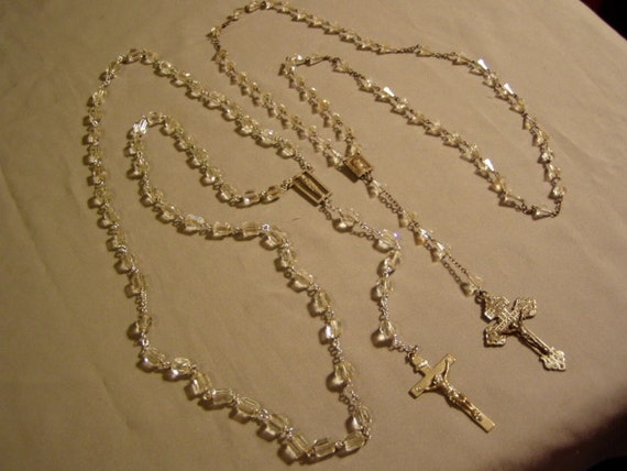 Lot 2 Vintage Silver Tone & Clear Faceted Glass Bead Rosaries Rosary  3393