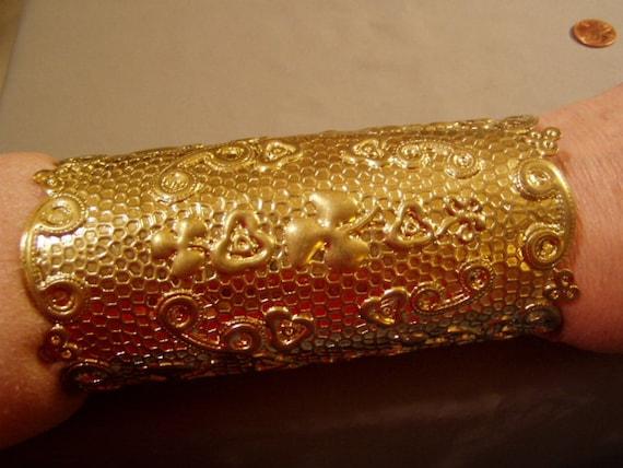 Vintage 5 3 8 Long Forearm Cuff Bracelet Gold Tone