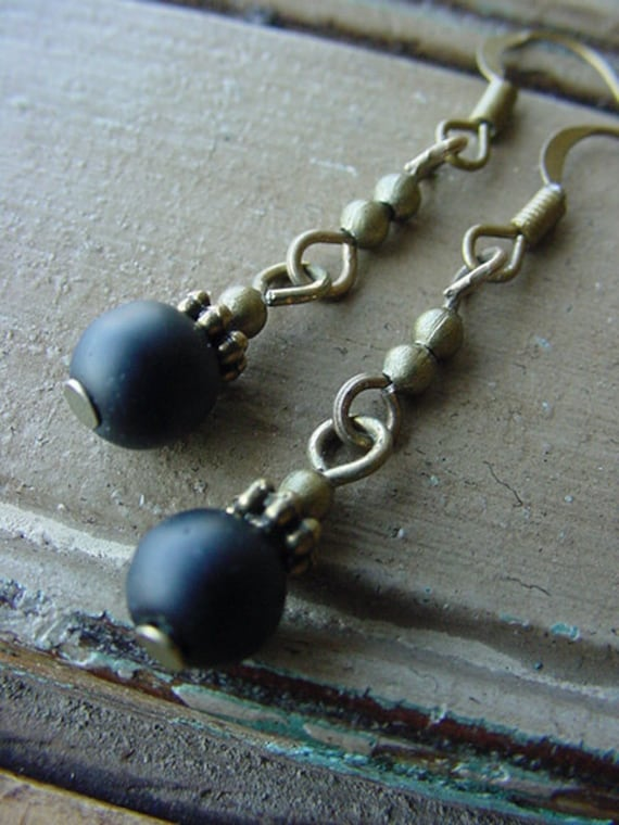 Midnight // Black Sea Glass with Antique Brass Finish Earrings
