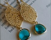 Gold Teal India Inspired Earrings with Emerald Blue Sea Glass-Bezel Set-Spring Fashion-Bridesmaid Jewelry-Chandelier Earrings