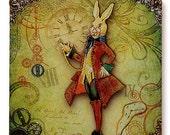 Alice's White Rabbit Glass Wall Art - StoryBook Edition - Original Handmade Glass Wall Pendant - Time Warp of the Illustrious W. Rabbit