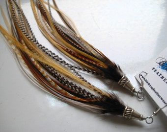 Light Natural Streamer Feather Earrings by Bird Crap Featherwear