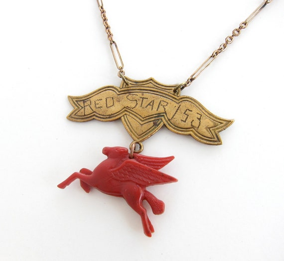 Red Star — winged horse and banner assemblage necklace