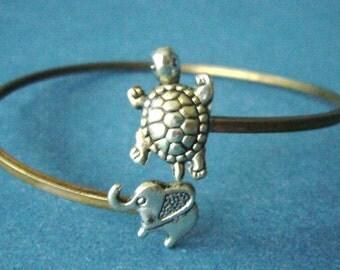 silver elephant and turtle bracelet, animal bracelet, charm bracelet, bangle