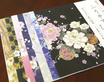 Traditional Japanese KIMONO Design printed Chiyogami paper pack for Japanese Origami Paper Project- 14 sheets