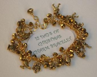 12 Days of Christmas Charm Bracelet Glittery Golden