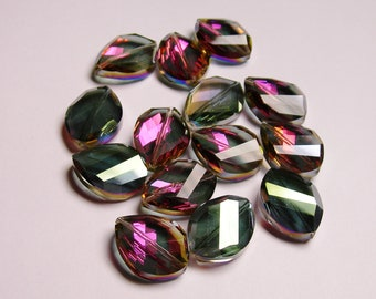 Crystal faceted oval beads 6 pcs 24mm by 18mm AA quality - sparkle purple and green