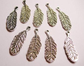 10 pcs silver feather charms - ZAS87