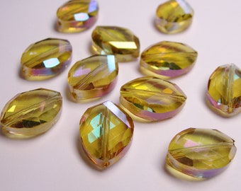 Crystal faceted oval beads 8 pcs 20mm by 18mm AA quality - sparkle yellow topaz with magenta