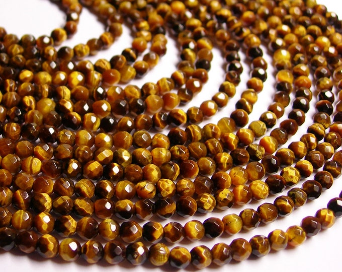 Tiger eyes - 4 mm faceted round - A quality - 92 beads - full strand - NRG141
