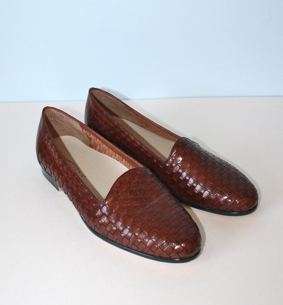 RESERVED For ALICE-----Vintage TROTTERS Brown Woven Leather Oxford Shoes / Leather Loafers / Made in Brazil Size 9 1/2