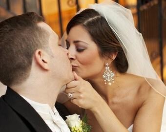 Bridal Earrings,Ivory or White Pearls,Statement Bridal Earrings,Pearl Bridal Earrings,Chandelier Earrings, Bridal Rhinestone Earrings, ALEXA