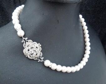 Pearl Necklace,White Swarovski Pearls,Pearl Bridal Necklace,Pearl Rhinestone Necklace,Statement Bridal Necklace,Pearl,Bride,Rose,ROSELANI