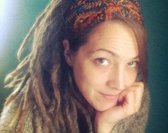 Cinnamon Spice Batik Gypsy Wrap by Julie Bartel,  size M only - no tie bandana, hair wrap, dread wrap, yoga headband