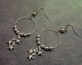 Silver Star Hoop Earrings Beaded, Nickel Free Ear Wires