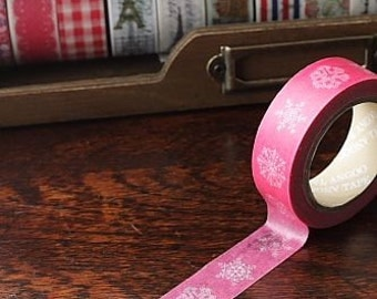 Tape-Washi Tape-Masking Tape-Single Roll-Pink with White Snowflakes