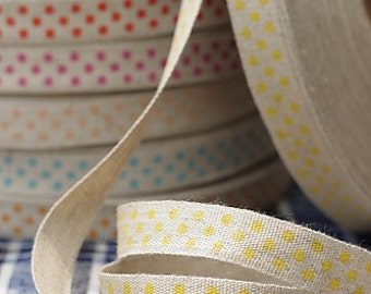 Ribbon-Yellow Polka Dots on Linen-Cotton and Linen-Scrapbooking-Sewing tape-Embellishment