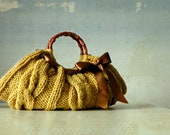 Knitted Women's tote bag, handmade purse, accessories, Knit Handbag, mustard, brown, autumn, winter Bag, christmas gift, brown bow