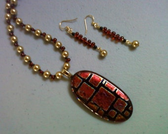 Black, red and gold necklace with dichroic pendant and earrings (0703)