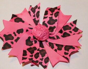 Clearance:  Pink Leopard Hair Bow/non slip