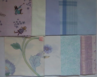 "Vintage Fabric Bed Sheets Quilt Squares, Dreamy Charm Pack (45 plus) 5"" Lavender, Cream and Green"