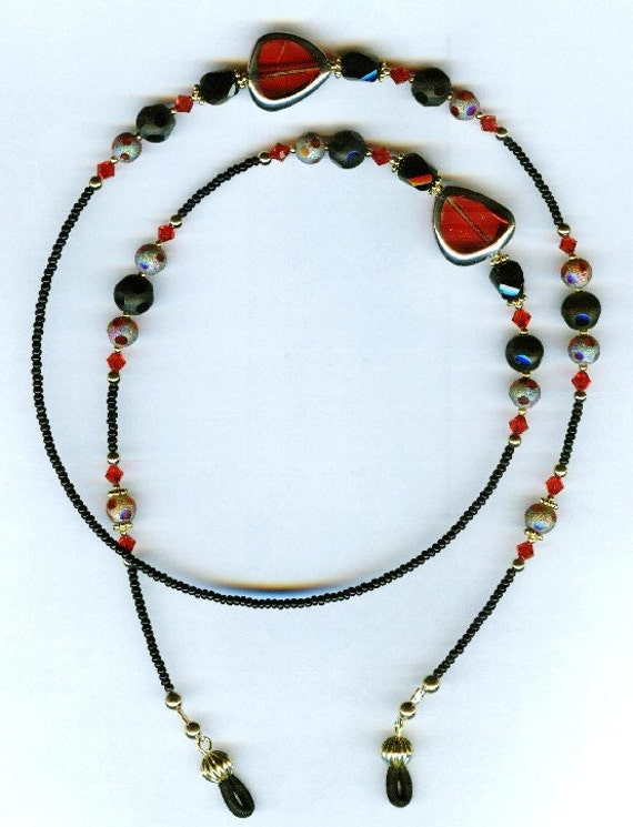 Gorgeous Red with Glittery Red & Black Glass Beaded Eyeglass Chain or ID Badge Lanyard