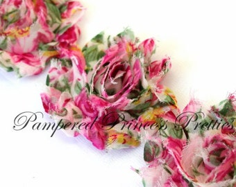 Set of 10-Pink Floral Frayed- Shabby Chiffon Flowers