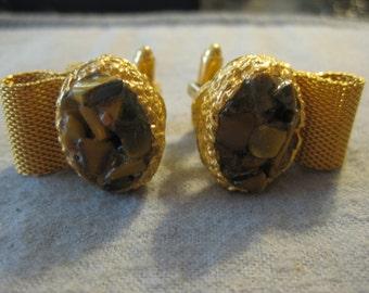Dante Tiger's Eye Gold Nugget Cuff Links