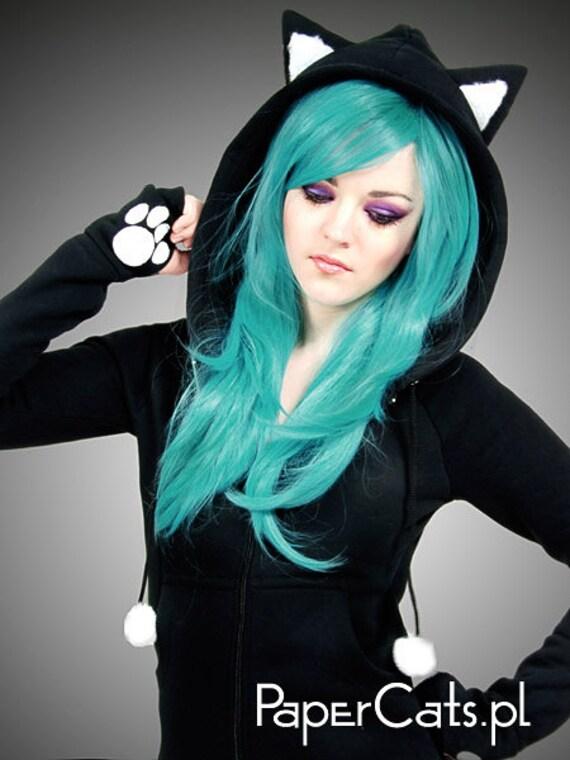 Black Cat Long Hoodie Ears Animal Kitty