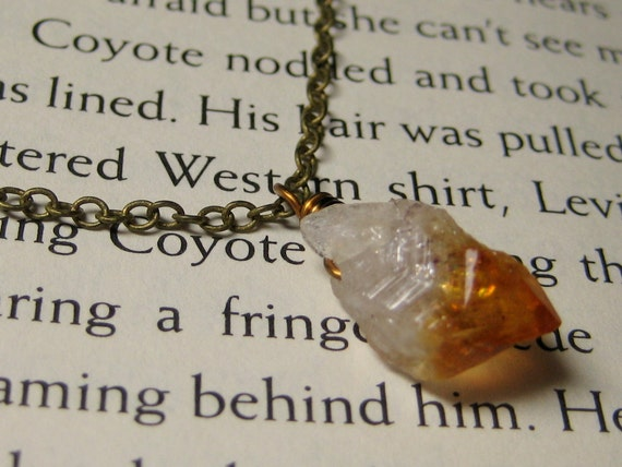 citrine necklace antiqued brass citrine crystal wire wrap stone rustic boho simple delicate petite jewelry