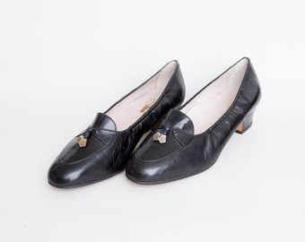 Size 8 NOS Vintage Black loafer skimmers low heels shoes