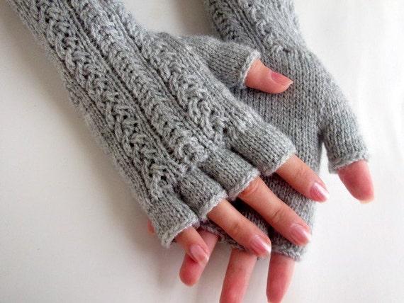 Light gray Half Finger- Fingerless Gloves-Fingerless Gloves, Arm Warmers