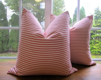 Pillow, Decorative Throw Pillow Cover, Red Woven Cotton Ticking Stripe Pillow Cover 18 x 18, 20 x 20, 22 x 22, 24 x 24