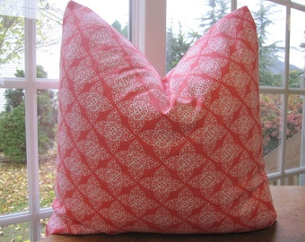 SALE...Pillow, Decorative Throw Pillow Cover, Designer Persimmon Lace Pillow Cover 20 x 20...last one available