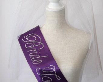 Bride To Be- Bachelorette Sash - Royal Purple - Bridesmaid Gift