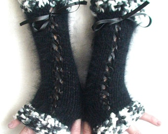 Fingerless Gloves Corset Wrist Warmers  in Black and White Victorian Style