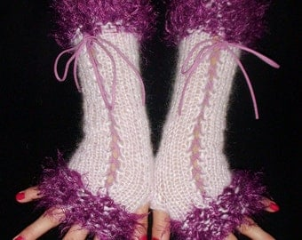 Fingerless Gloves Corset Wrist Warmers  in Light Pink and Purple with Suede Ribbons Victorian Style