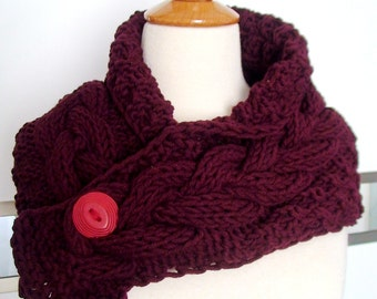 Cowl Neck Warmer Scarf Burgundy Dark Red Handknit Cabled Warm Christmas Fashion SALE