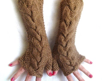 Fingerless Gloves Long Cabled Brown Wrist Warmers Warm Soft Handknit